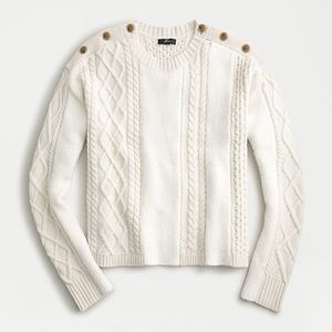 J CREW mixed cable knit sweater w shoulder buttons